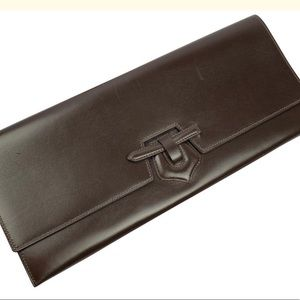 Hermes Brown Calf Box Leather Maharani Clutch Bag